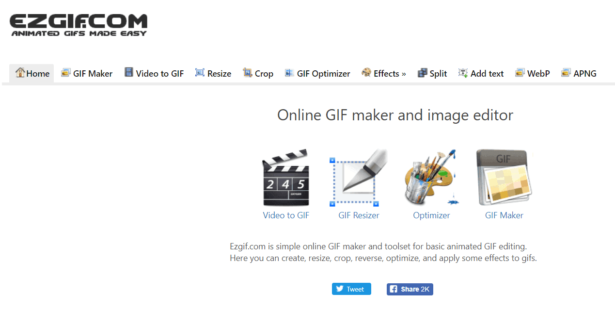 EZgif home page