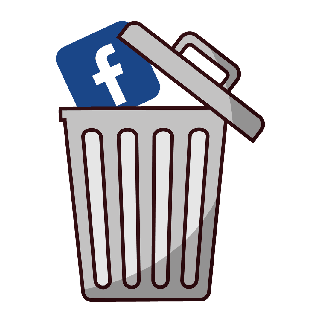 Putting the Facebook icon in a trash can