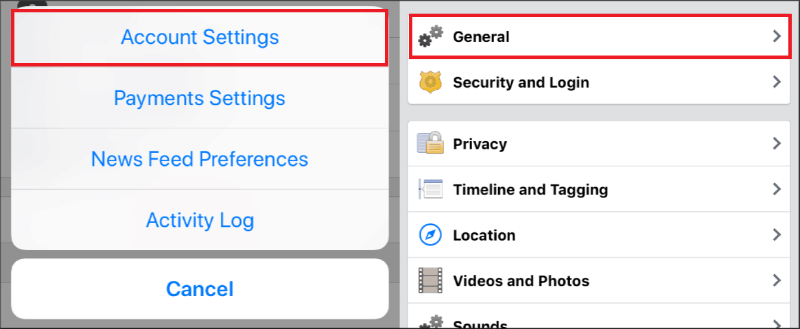 Navigating to your general account settings on the Facebook mobile app