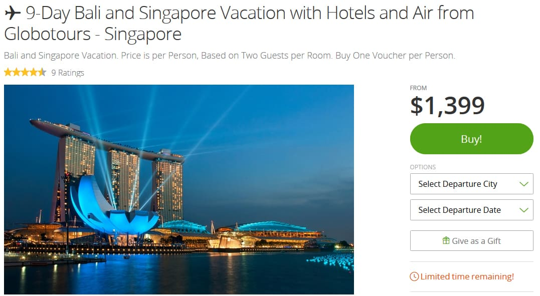 A Groupon voucher for a travel getaway