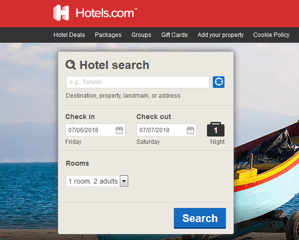 A screenshot of the Hotels.com home page