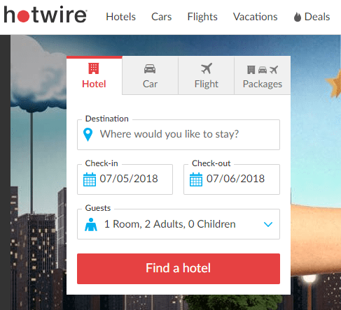 A screenshot of the Hotwire homepage