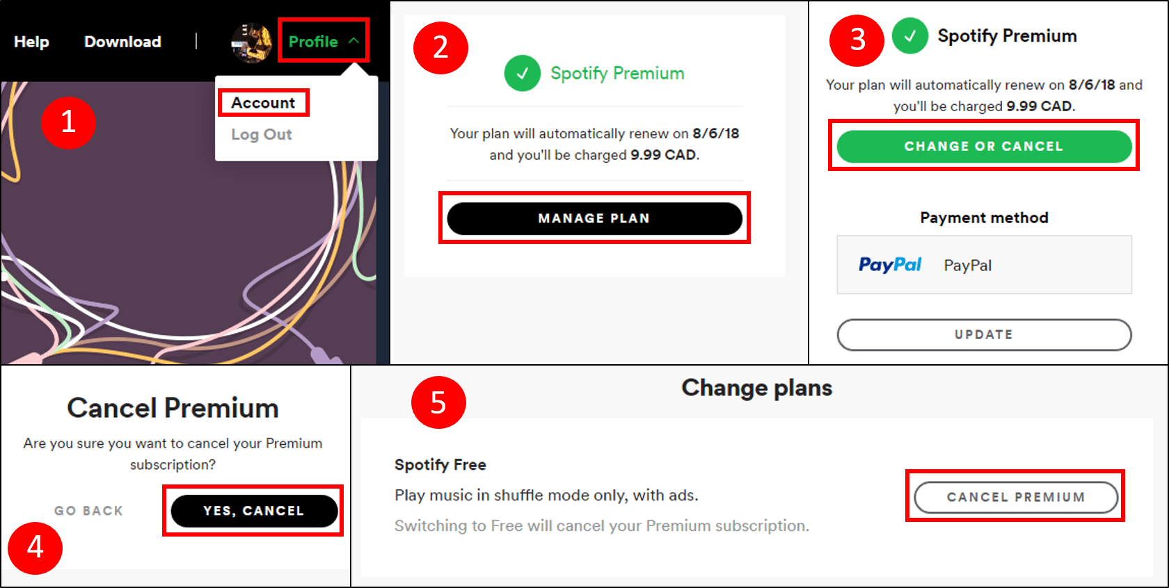 Steps for cancelling a Spotify subscription
