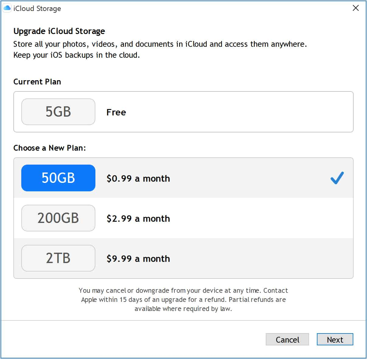 Prices for upgrading iCloud storage space