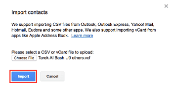 Importing contacts to your Google account from your vCard file