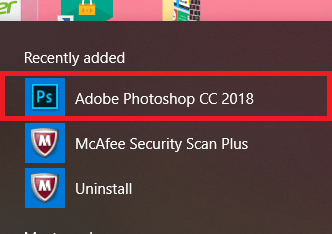 Opening the Adobe Photoshop program