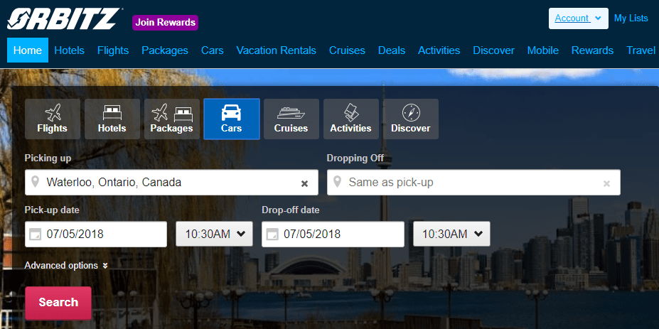 Screenshot of the Orbitz home page