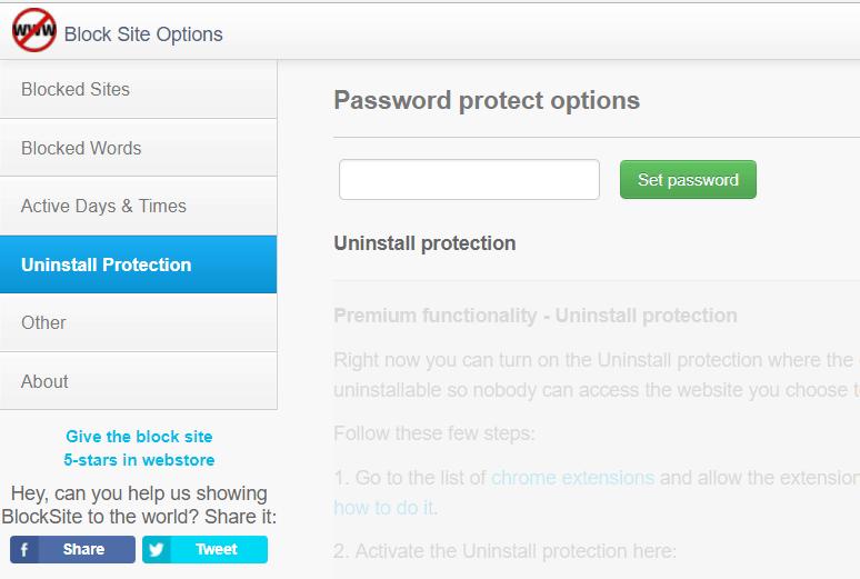 Adding password protection to uninstalling Block Site