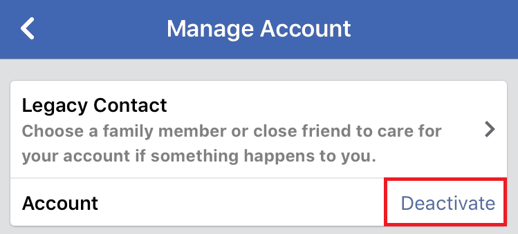 Deactivating your Facebook account on the mobile app