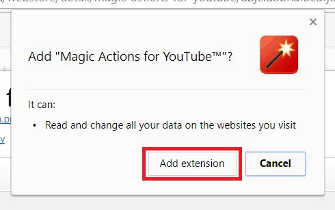 Confirm adding an extension to Google Chrome