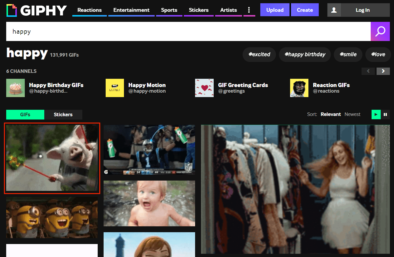 Browse for a GIF and select one