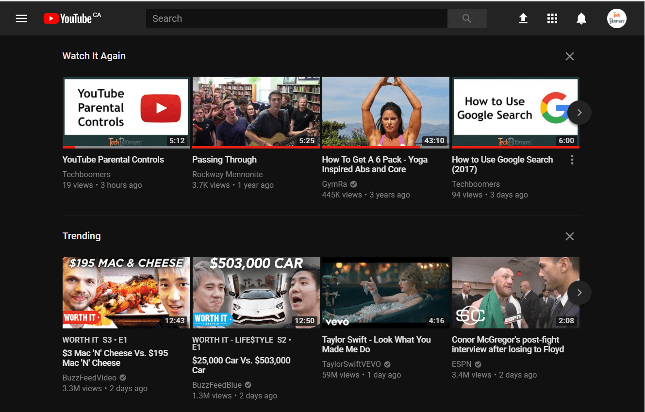 What YouTube looks like with Dark Theme enabled
