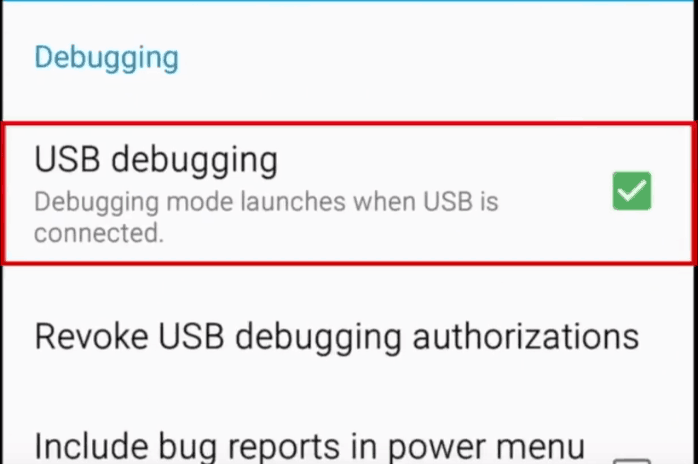 Enabling debugging mode when Android device is connected to USB