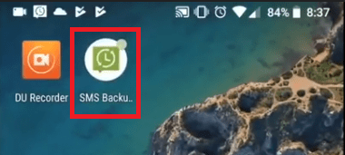 Launching the SMS Backup and Restore app