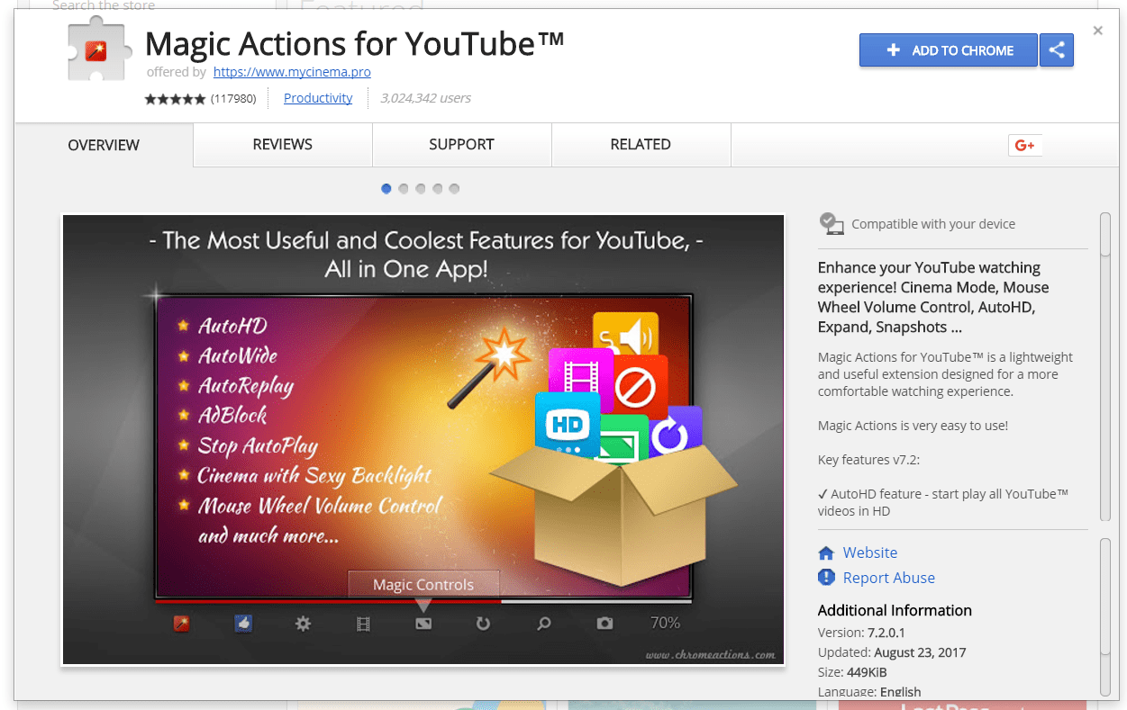 Magic Actions for YouTube extension on Google Chrome