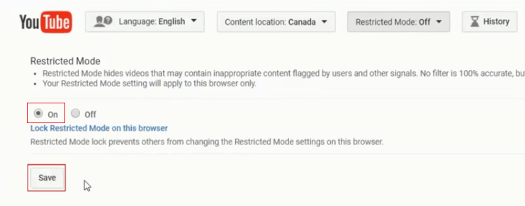 Saving changes to YouTube's Restricted Mode
