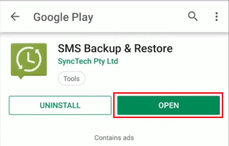 Opening the SMS Backup and Restore app