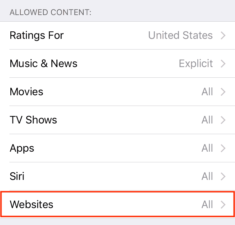 Limit websites that can be accessed by your iOS device