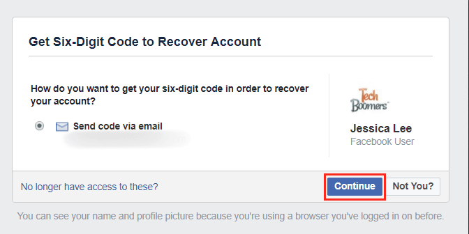Send a recovery code to your email address