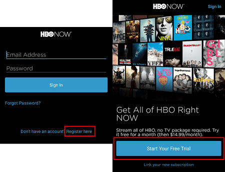Start a free trial of HBO Now