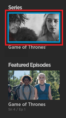 Select to watch Game of Thrones