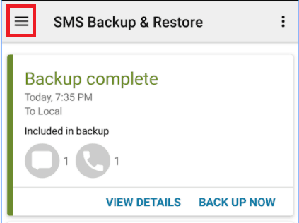 Open the SMS Backup and Restore main menu