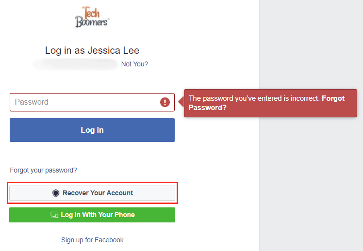 Recover your account after attempting sign-in