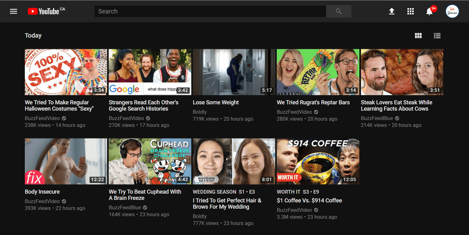 What YouTube Dark Mode looks like