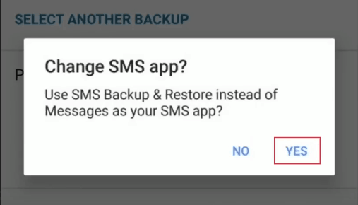 Confirm a change in default messaging app