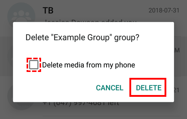 Confirm that you want to delete a chat