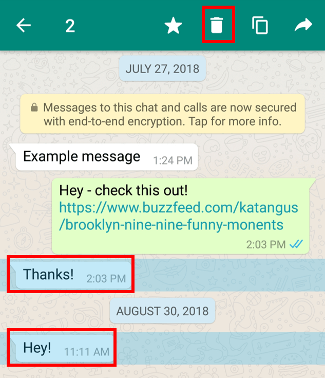 Select and delete multiple messages