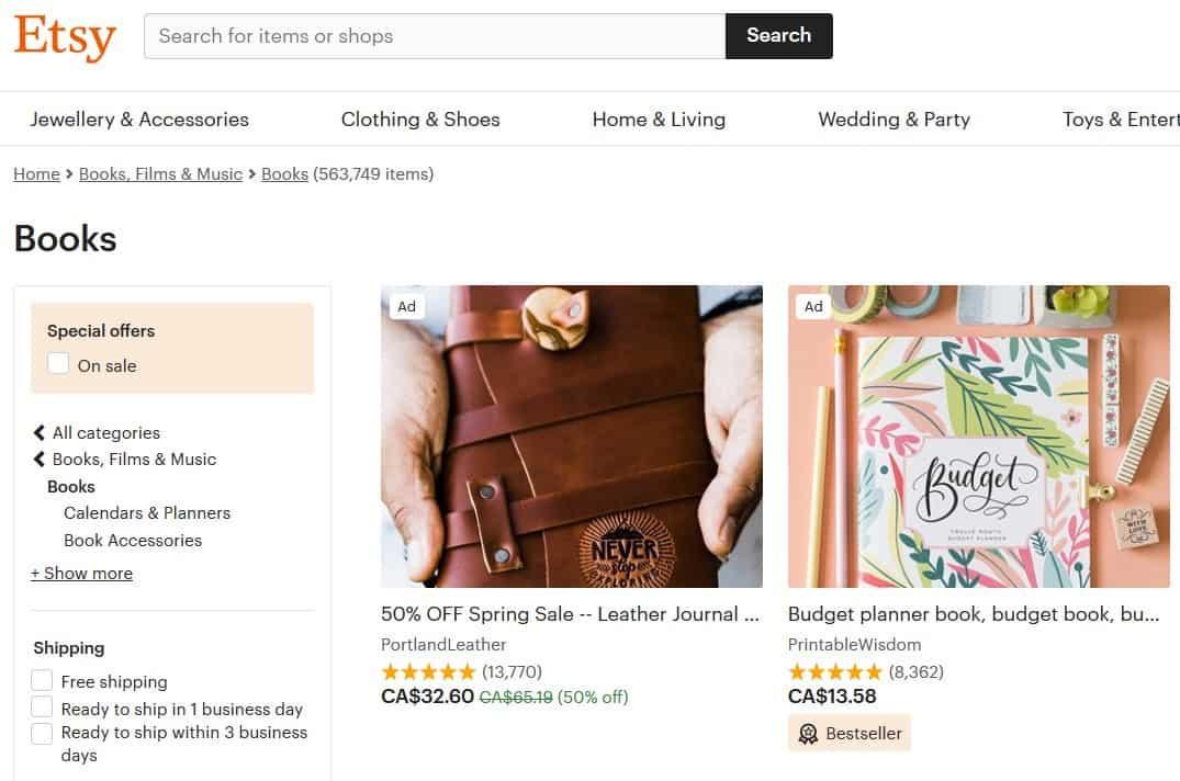Screenshot of Etsy
