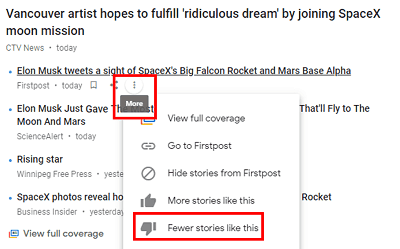 Fewer Stories Like This button