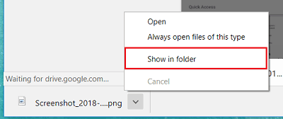 Show in Folder option for files