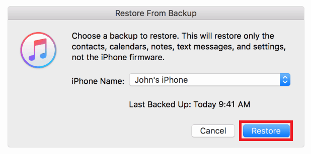 Choose an iTunes backup to restore phone data with