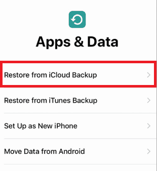 Restore data from an iCloud backup on a new iPhone