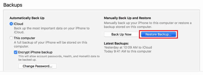 Restore phone data from an iTunes backup