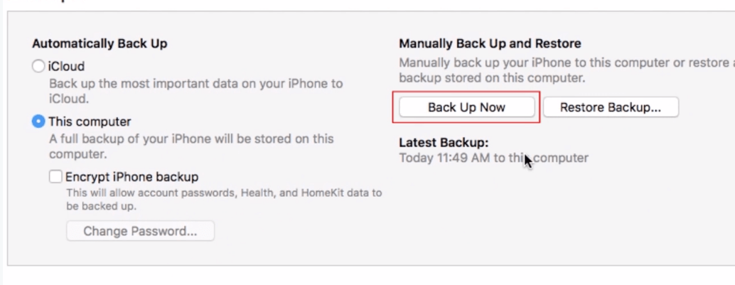 Back up iPhone manually to your computer