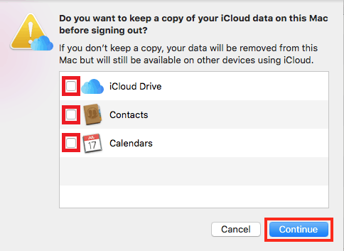 Deselect data you don't want a copy of and continue log out