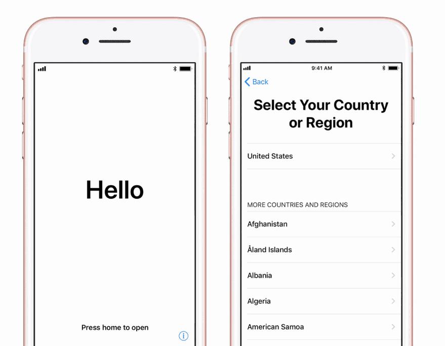 Begin iPhone setup