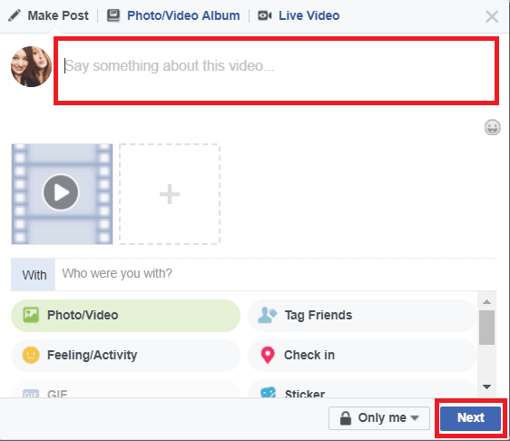 Add details to your post and share your GIF as a video