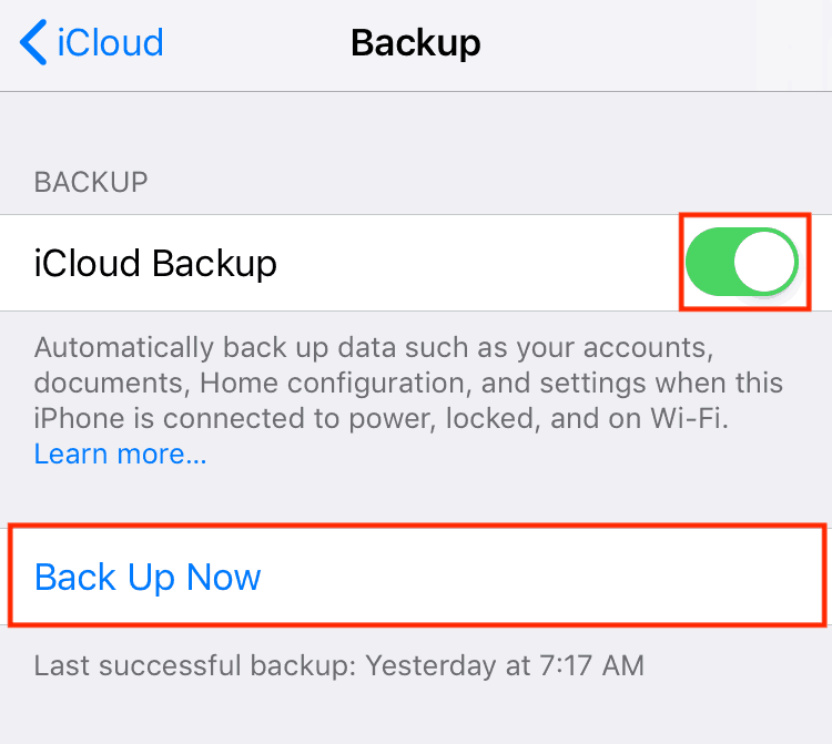 Turn on iCloud Backup and back up now