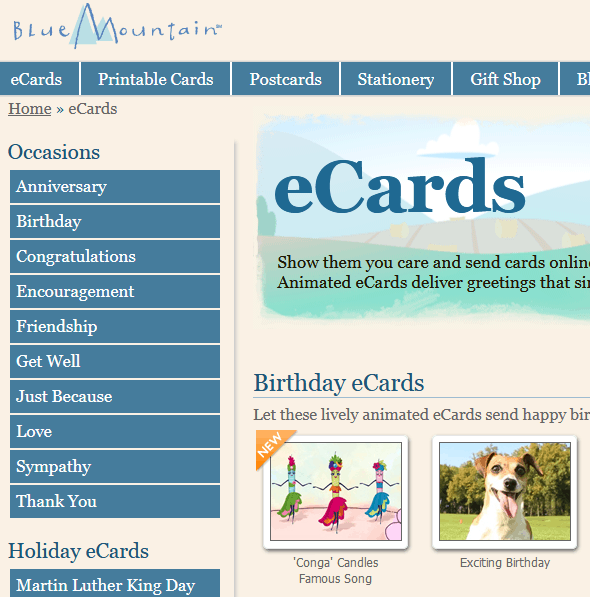 Blue Mountain Greeting Cards Website
