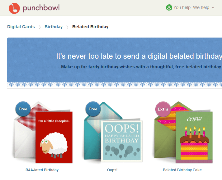 Punchbowl greeting cards