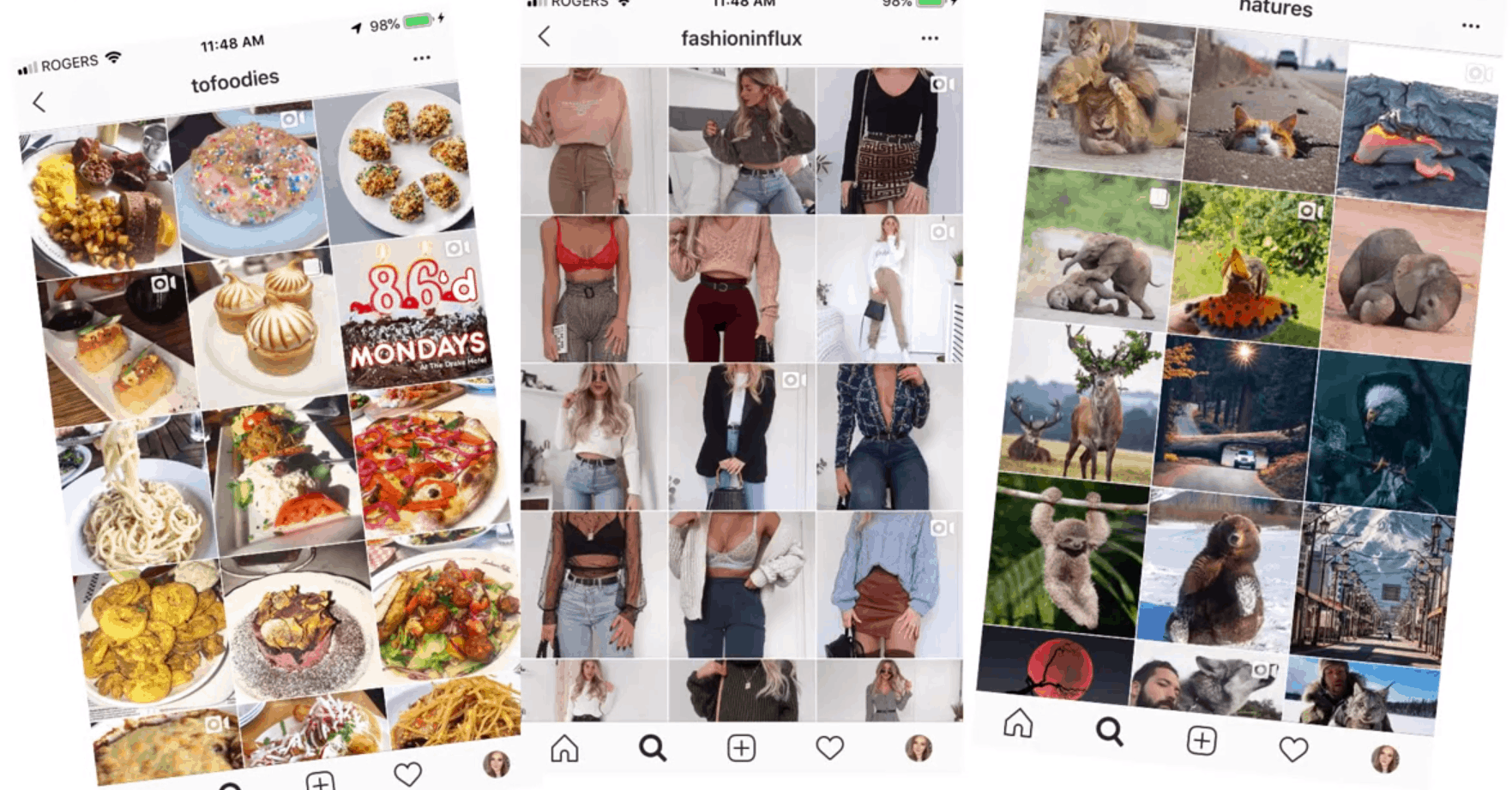 Examples of themed Instagram accounts