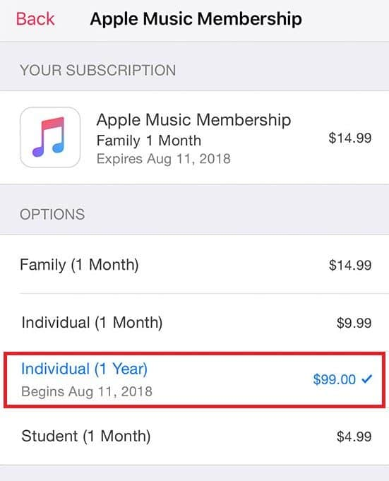 An option for an annual individual subscription to Apple Music