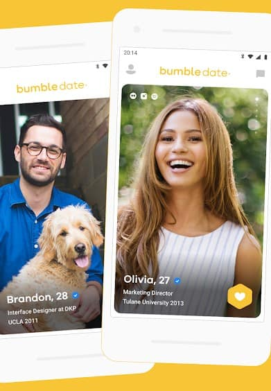 Example of the Bumble app