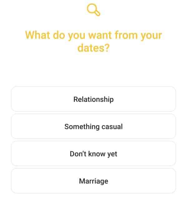 Relationship target options in Bumble