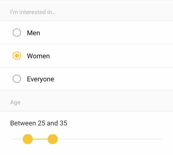 Bumble gender search options