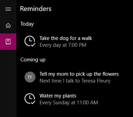 Examples of reminders in Cortana